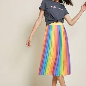 Modcloth Beautifully Upbeat Pleated Midi Skirt S